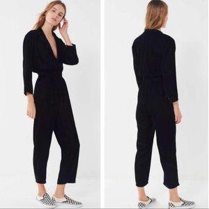 UO Brynn Black Velvet Surplice Jumpsuit XS